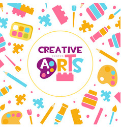 creative arts banner template kids education art vector image