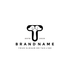 Creative design initials letter t dog vector
