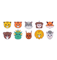 cute animals asian manga animal avatar collection vector image