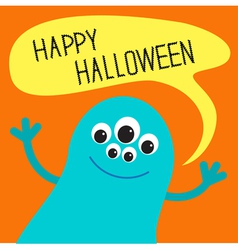 Cute blue monster with speech text bubble vector image