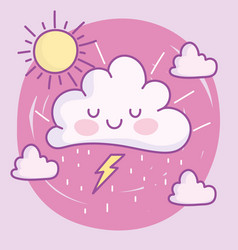 cute cartoon clouds sun thunderbolt decoration vector image