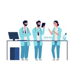 doctors lab scientists characters standing near vector image