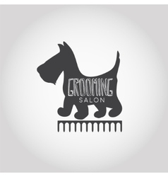 Dog beauty and grooming salon logo vector image