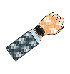 Drawing hand man with smart watch wearable vector