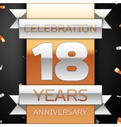 Eighteen years anniversary celebration golden vector