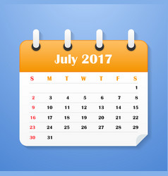 European calendar for july 2017 vector