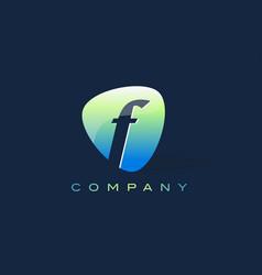 F letter logo oval shape modern design vector