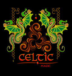 Fantasy drawing celtic dragons and triskele vector