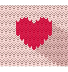 Flat heart icon in herringbone pattern vector image