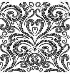 floral greek seamless pattern monochrome vector image