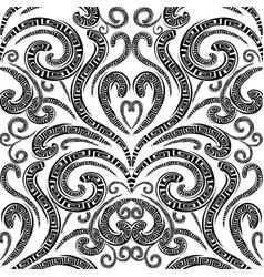 Floral greek seamless pattern monochrome vector