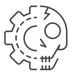 gear skull icon outline style vector image