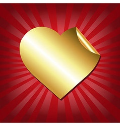 Gold Hearts Label With Red Sunburst vector image