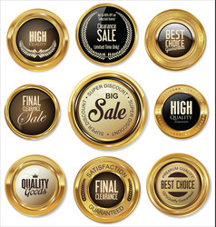 golden badges retro vintage collection vector image