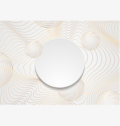 golden curved waves and circles abstract vector image