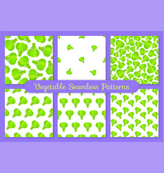 green broccoli flat vegetable seamless pattern set vector image