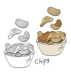 hand drawn chips collection black and white and vector image