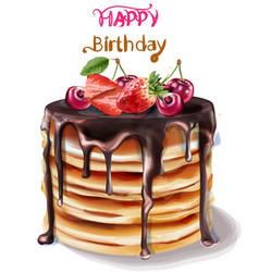 happy birthday cake watercolor chocolate vector image