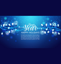 happy holidays banner new year lettering blue vector image