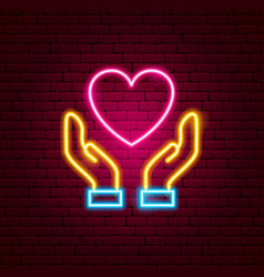 Heart hands neon sign vector