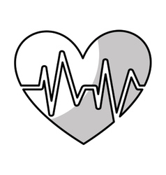 Heart with pulse symbol vector
