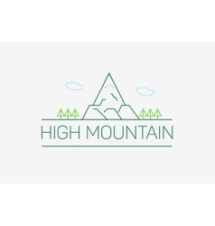 high mountain logo and emblem in outline vector image
