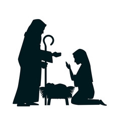 Holy family silhouette christmas characters vector