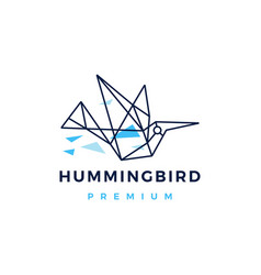 hummingbird colibri geometric polygonal tech logo vector image