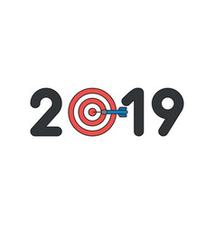 icon concept 2019 with bulls eye and dart in vector image