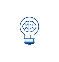 idea lamp with brain line icon concept idea lamp vector image