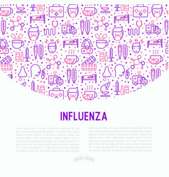Influenza concept with thin line icons vector