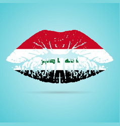 Iraq flag lipstick on the lips isolated on a white vector