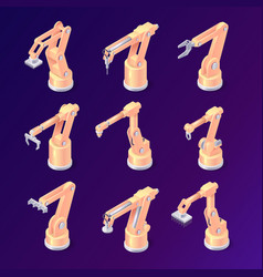 Isometric robot arms factory robotic hands set vector