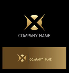 Letter x abstract gold company logo vector