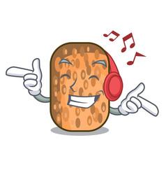 Listening music fried tempeh snack above cartoon vector