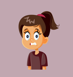 Little girl cringe face cartoon vector