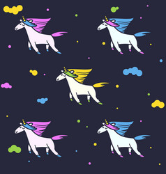 magic unicorns in clouds seamless pattern for vector image