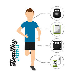 man runner athletic healthy lifestyle vector image