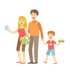 Mom dad and son holding toy car shopping vector