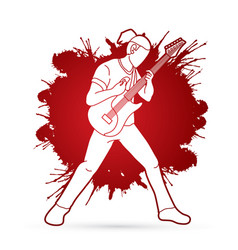Musician playing electric guitar music band vector