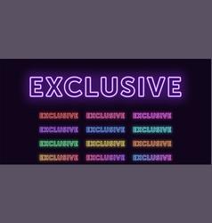 Neon text exclusive expressive title glow word vector