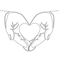 one continuous line hand holding heart concept vector image
