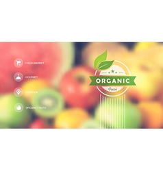 Organic food web interface blurred design vector