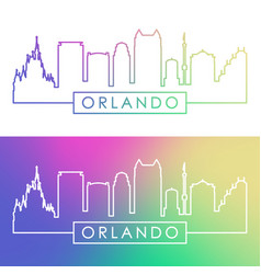 Orlando skyline colorful linear style vector