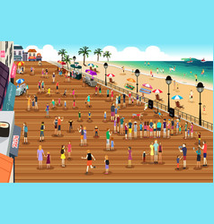 people in a boardwalk scene vector image