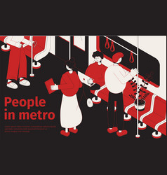 people in metro isometric poster vector image