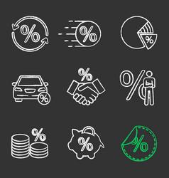 percents chalk icons set vector image