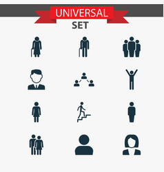 Person icons set collection of group work man vector