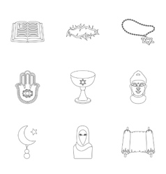 Religion set icons in outline style Big vector