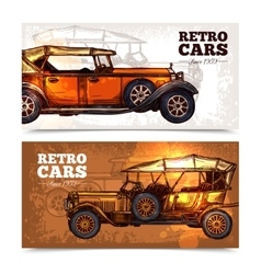 Retro Cars Banner Set vector